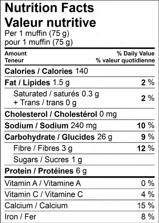 Gold n Rich Whole Wheat Nutritional Information