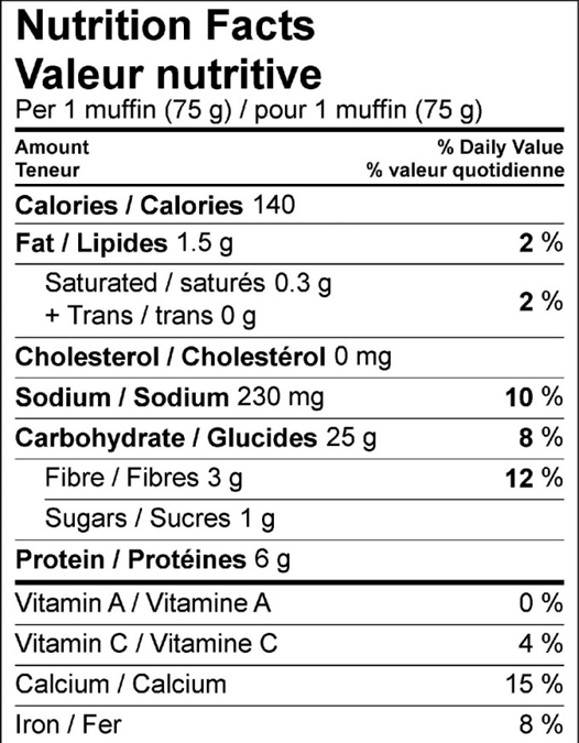 Whole Wheat English Muffin Nutritional Information